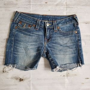 True Religion shorts cut off raw hem SIze 27